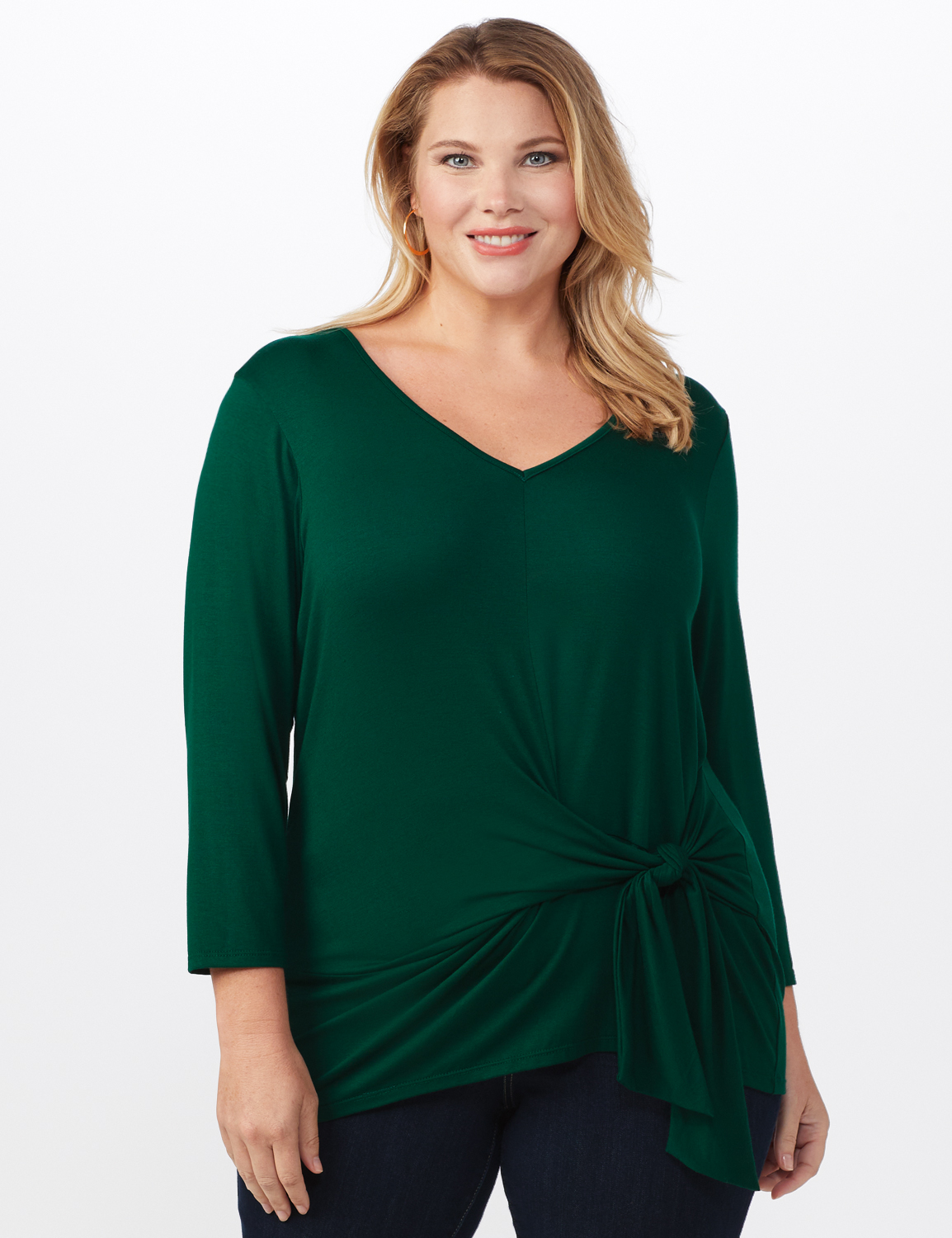 V-Neck Tie Front Knit Top - Plus -Hunter green - Front
