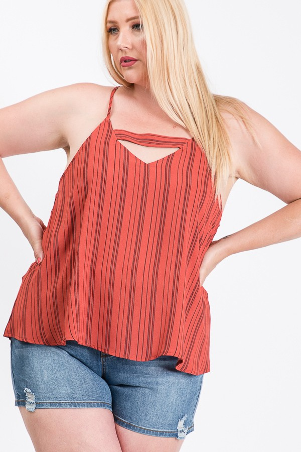Off To The Beach Stripe Cami Top -Rust - Front