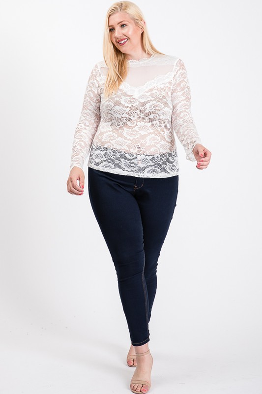 Outgoing Lace Top -White - Front