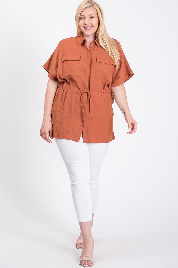 Tunic Shirt W/ Elastic Waist -Rust - Front