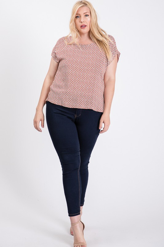 Challis Patterned Top -Rust - Front