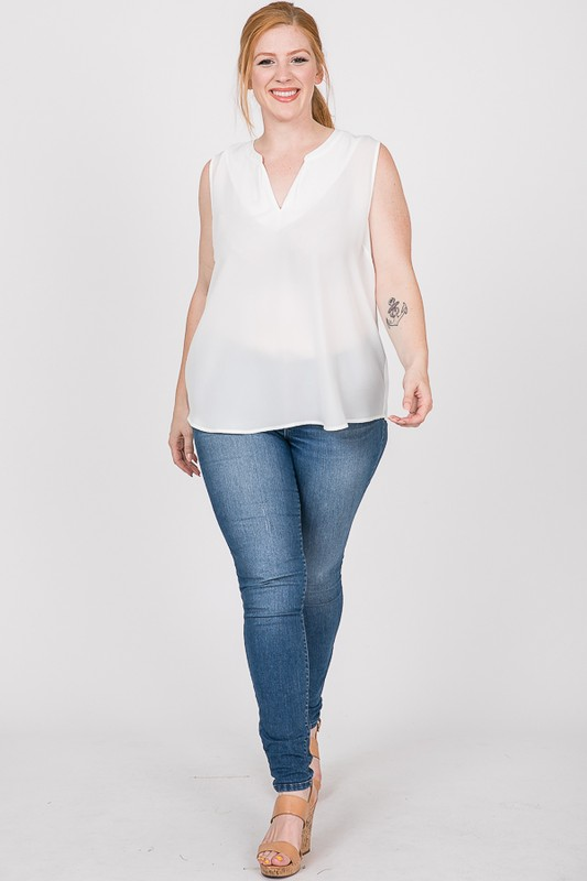 Plain Pintuck Top -White - Front
