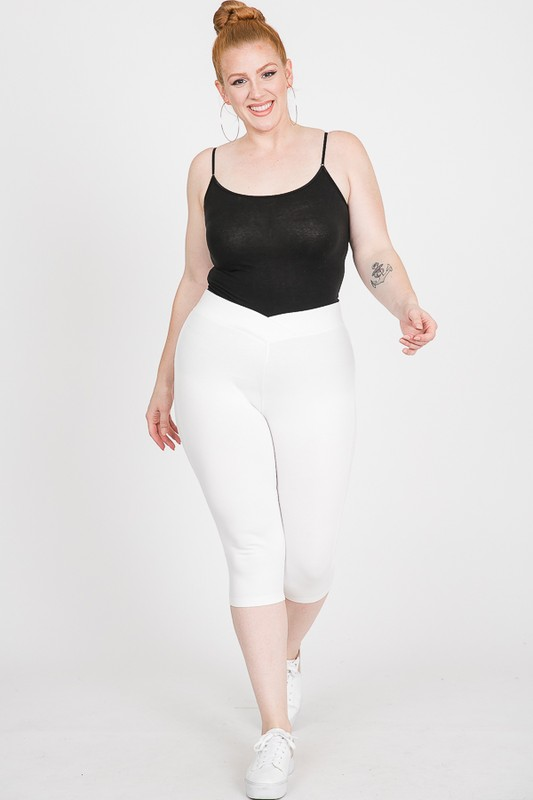 Everyday Ponte Capri Pants -White - Front