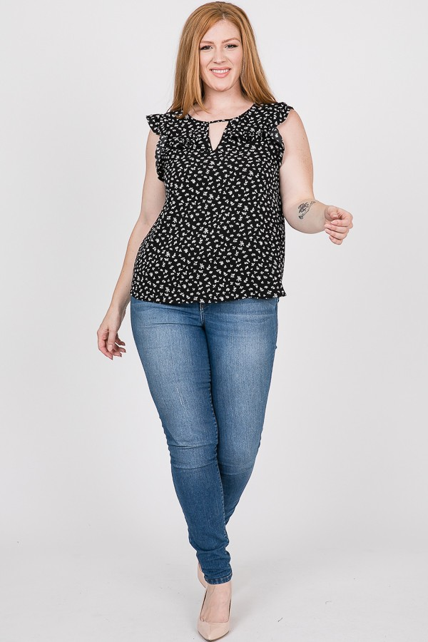 FLORAL PRINT FRILL TOP -Black - Front
