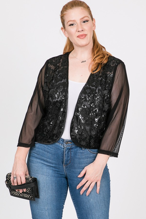 Party Hard Sequin Cardigan -Black - Front