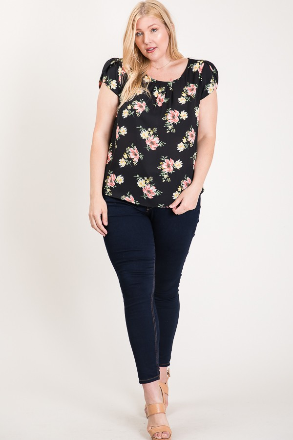 Light And Bright Floral Top -Black - Front