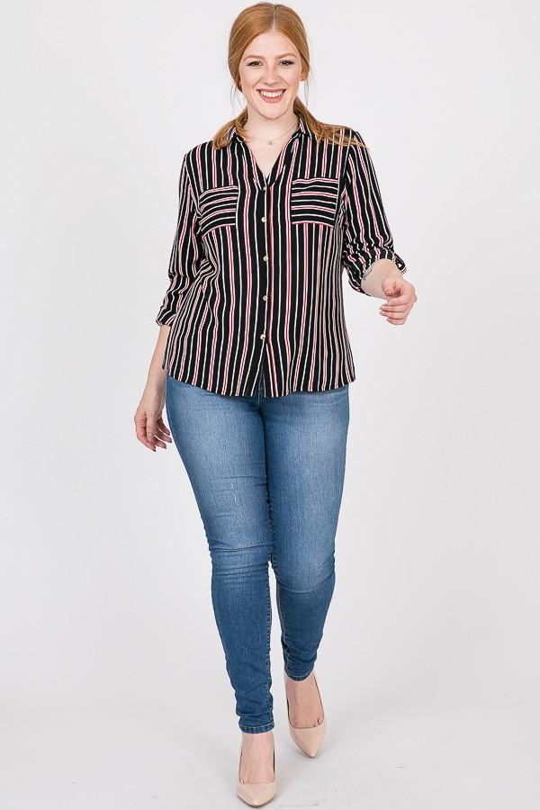 Never Gets Old Striped Shirt -Black - Front