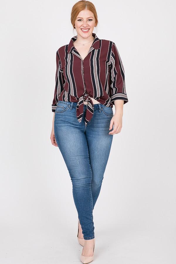 Stylish Striped Shirt - Burgundy - Front