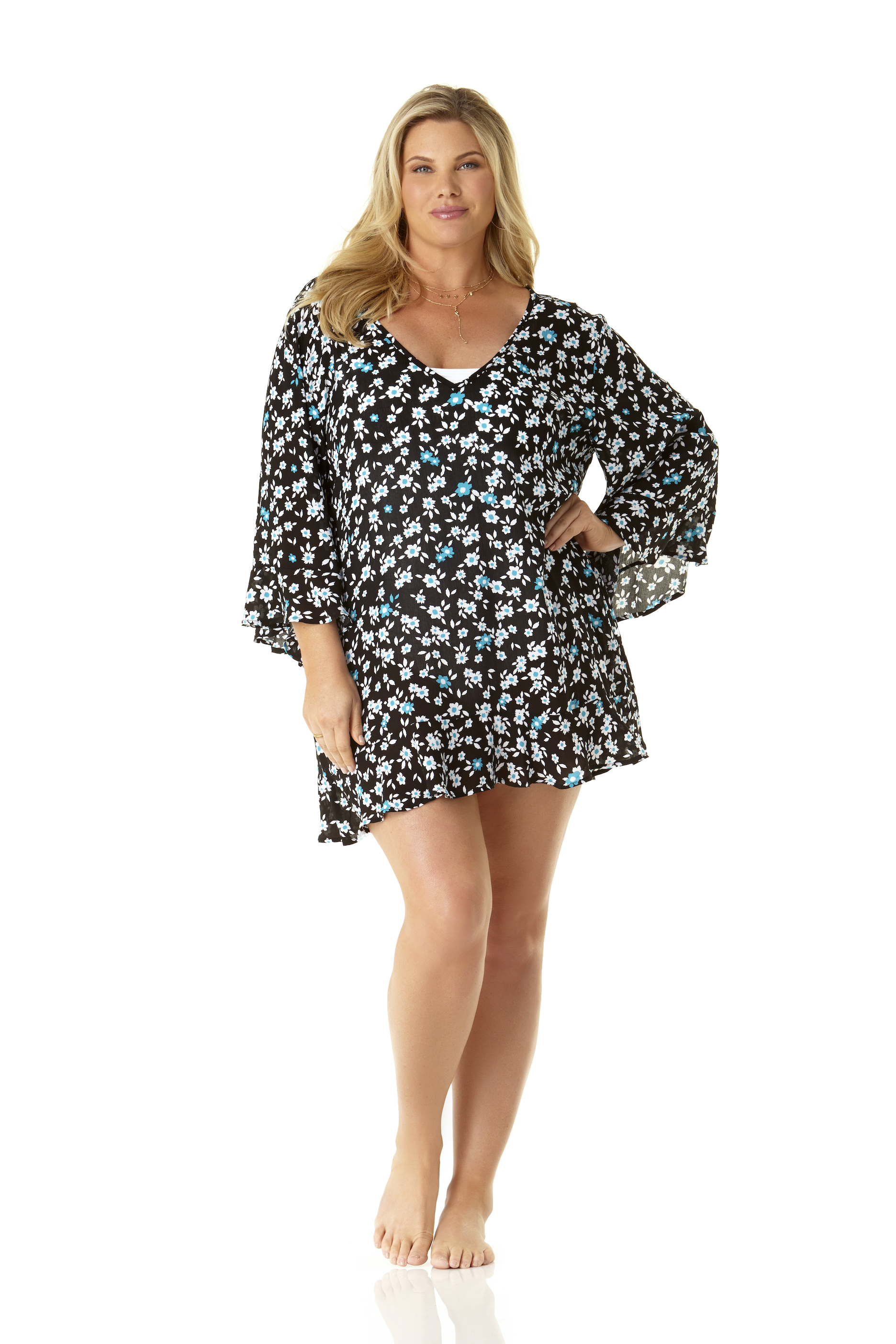 Anne Cole® Beautiful Bunches Tunic Swimsuit Cover-Up - Plus -Multi - Front
