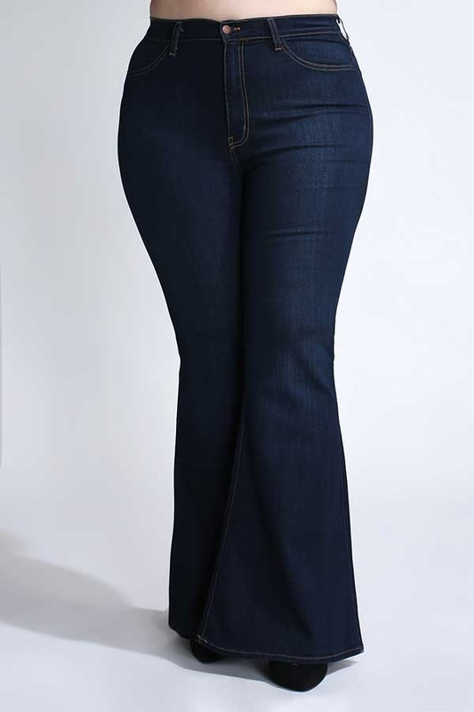 Dark Denim Wide-Leg Pants -Dark stone - Front