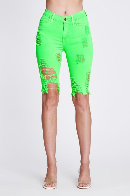 Bold Green Neon Capri Pants -Neon green - Front