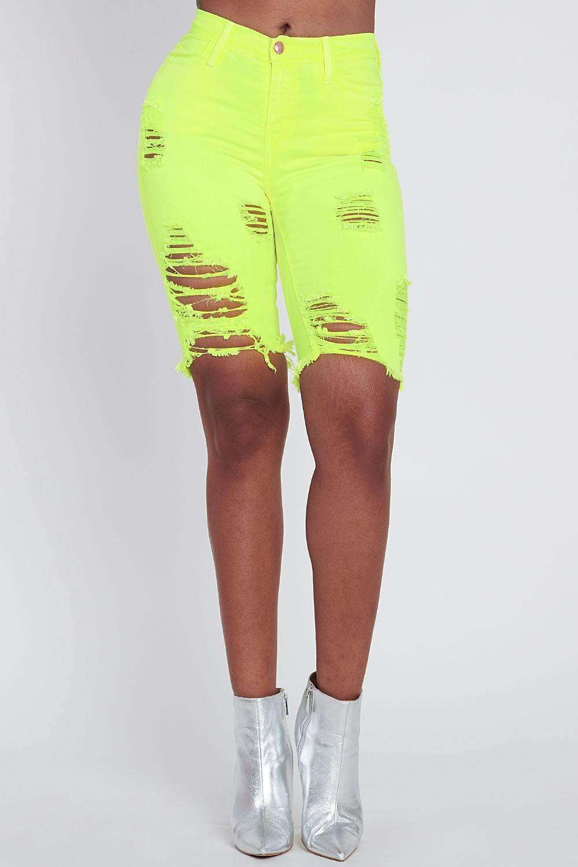 Bold Yellow Neon Capri Pants -Neon yellow - Front