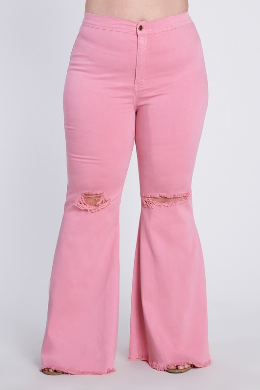 Plus Size Flare Ripped Jeans -Blush - Front