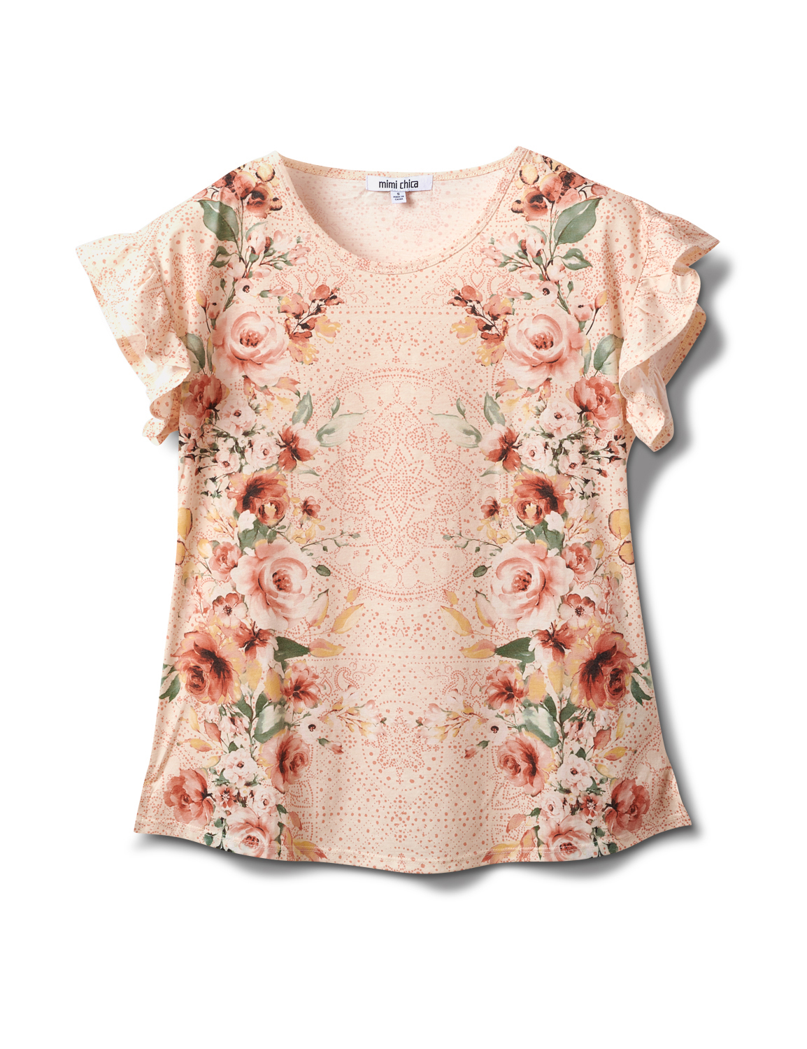Flutter Sleeve Floral Mirror Print Tee -Pink - Front