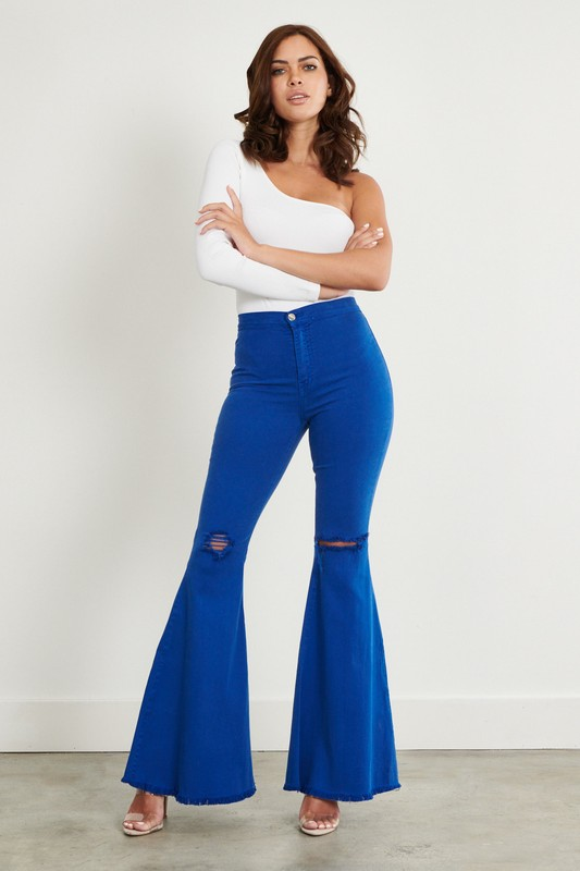 Royal Blue Distressed Flare Jeans -Royal - Front