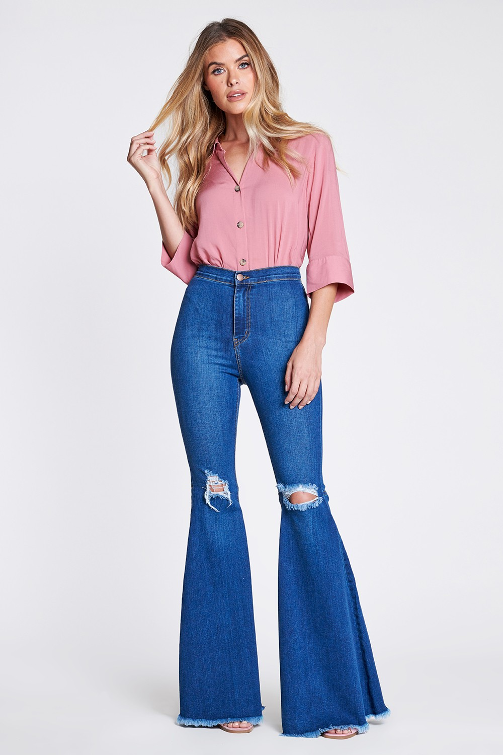 Knee-ripped Flare Jeans -Medium stone - Front