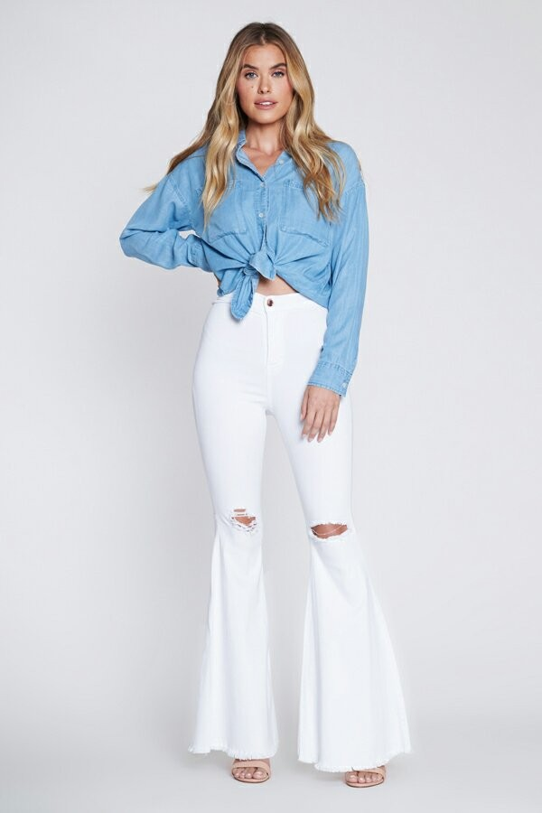 White Distressed Flare Jeans -White - Front