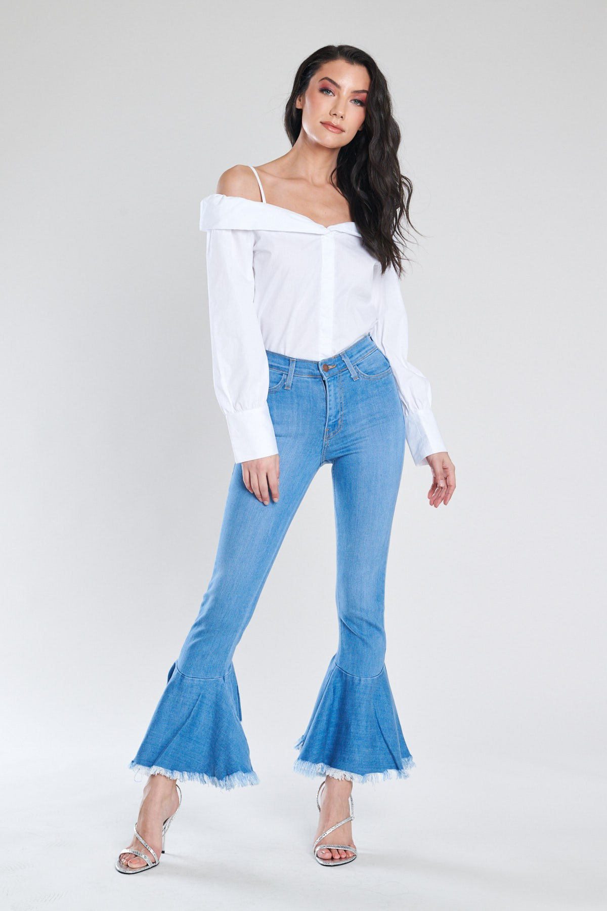 Ruffle Bell-Bottom Jeans -Light stone - Front