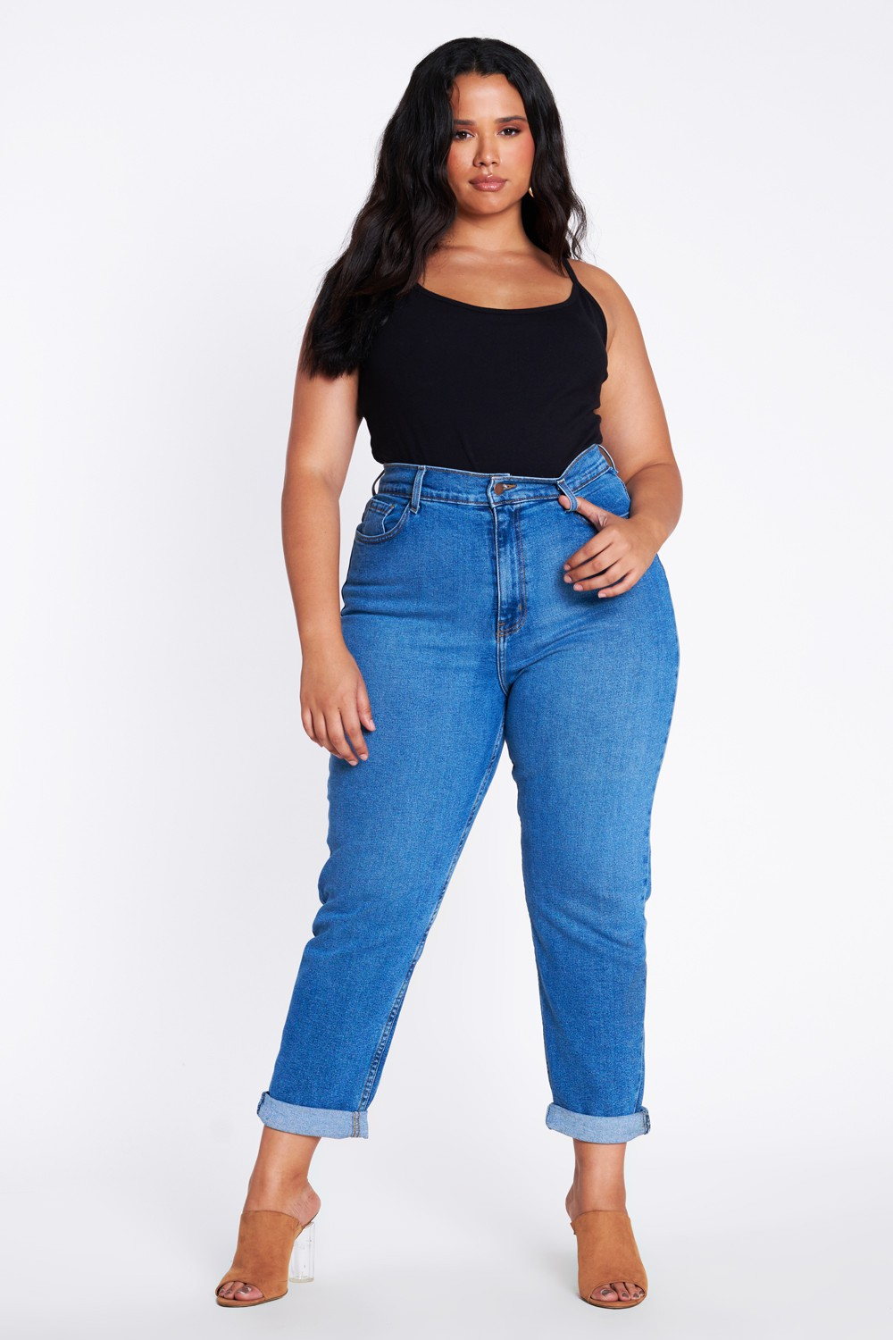 Plus Size Mom Jeans - Medium stone - Front