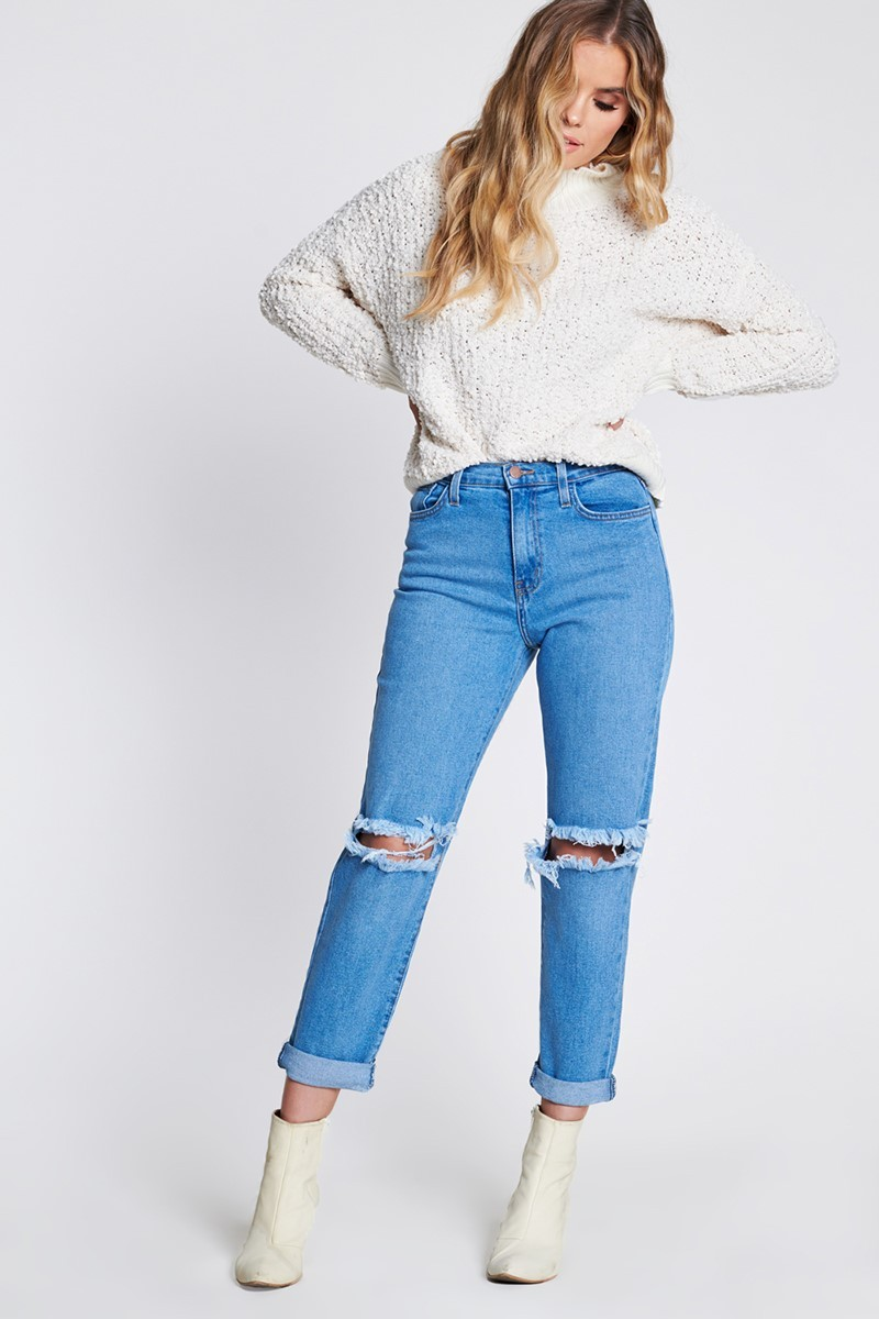 Ripped Boyfriend Jeans -Medium stone - Front