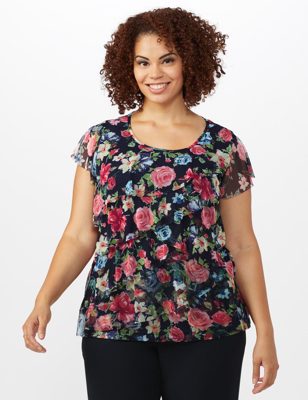 Floral Mesh Tier Knit Top - Plus -Navy - Front