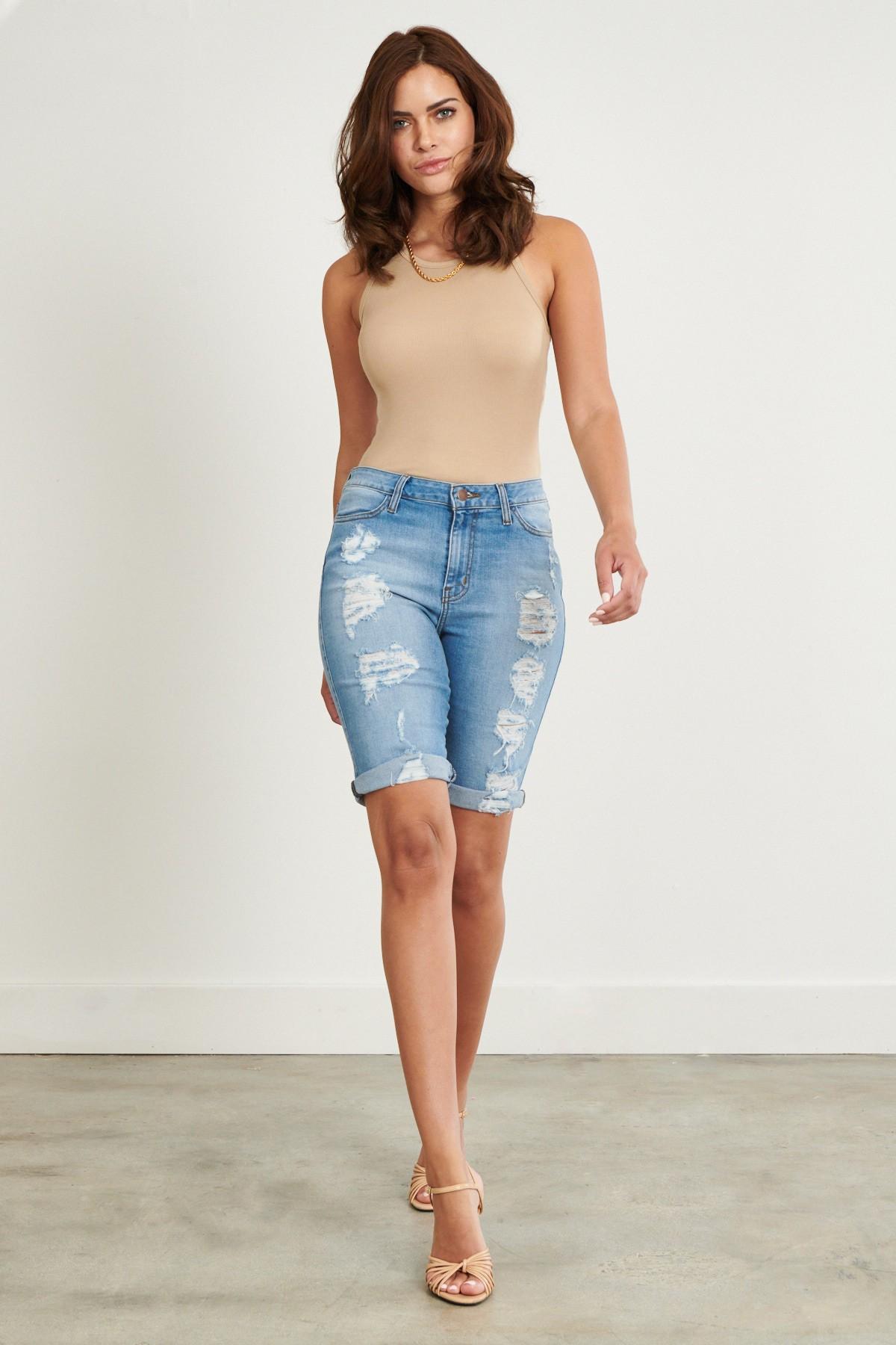 Denim Ripped Shorts -Medium stone - Front