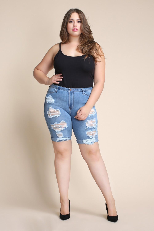 Plus Size Distressed Bermuda Shorts -Medium stone - Front