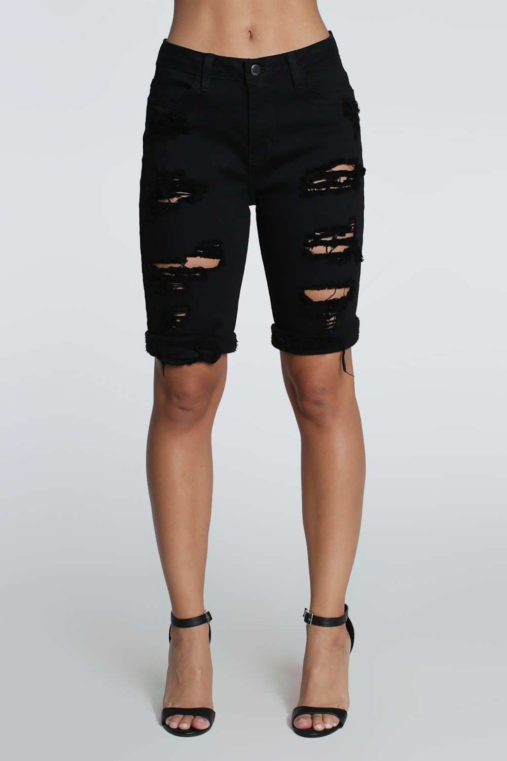 Distressed Boyfriend Bermuda Shorts -Black - Front