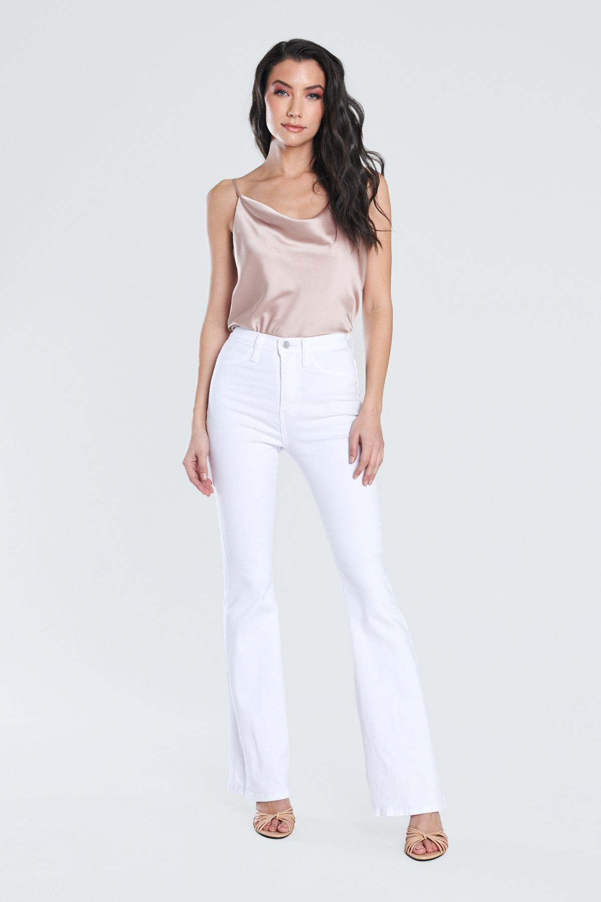 White Classic Flare Jeans -White - Front