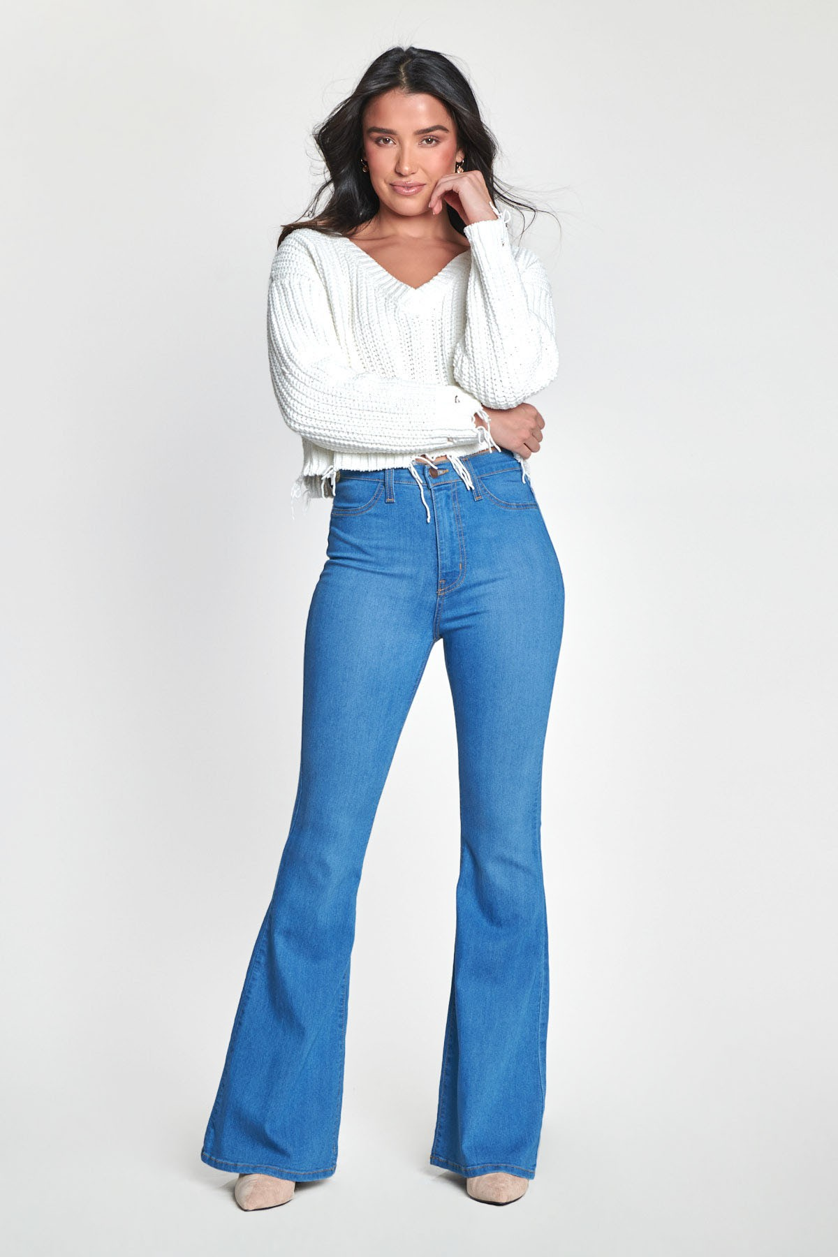 High Rise Flare Jeans -Medium stone - Front