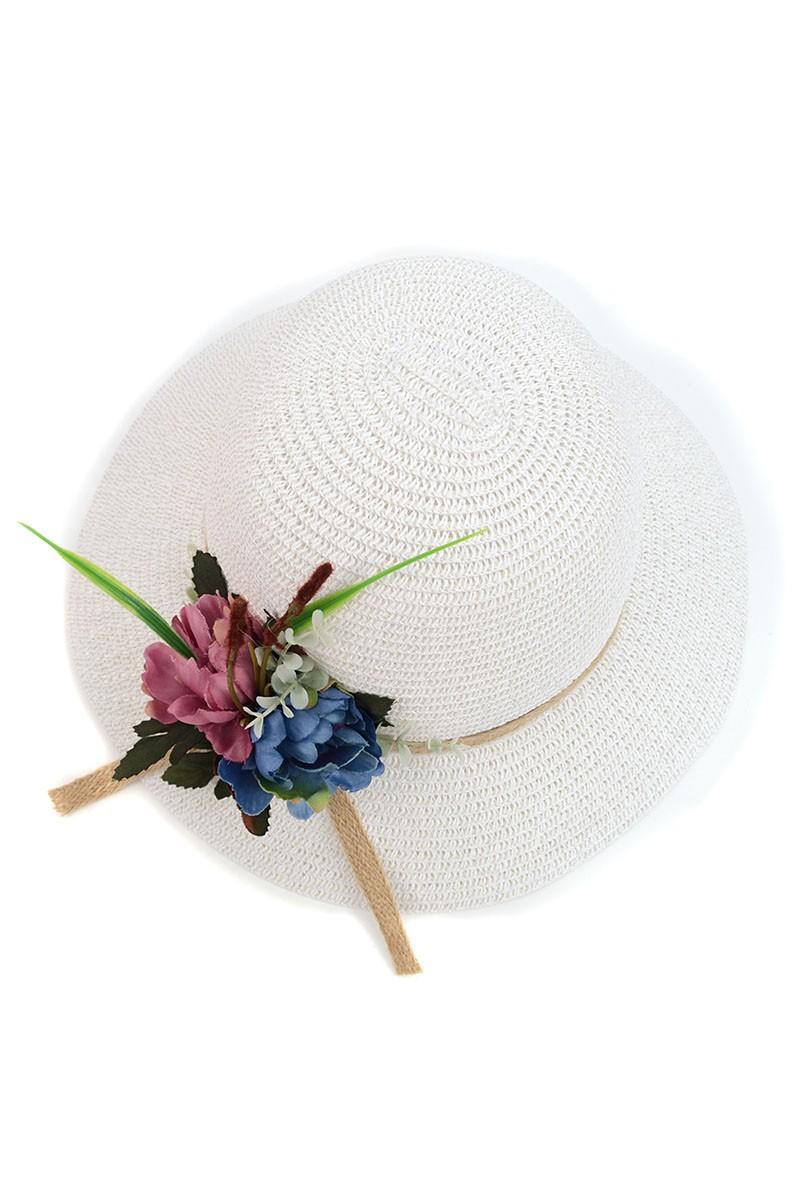 Women's Flower Floppy Sun Hat - white - Front