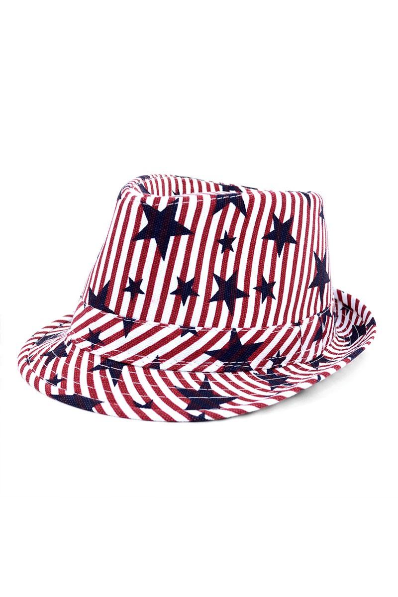 Spring/Summer USA Stars StripesTrilby Fedora -One Color - Front