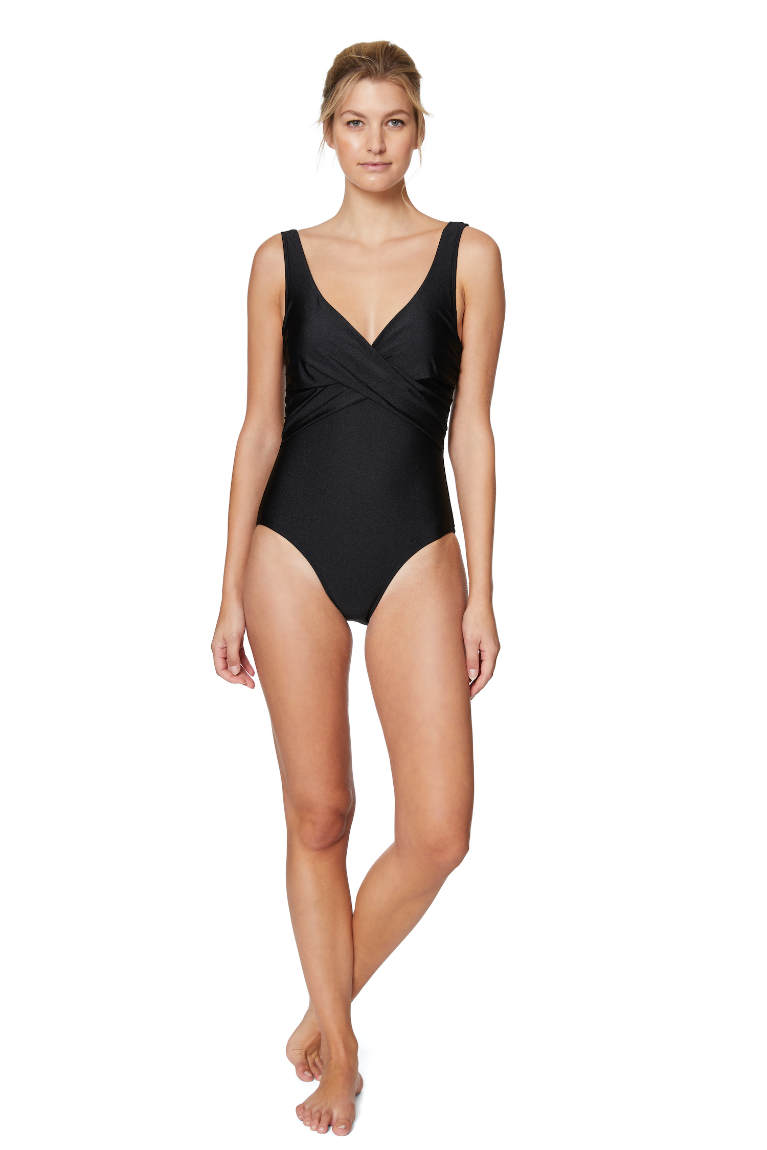 Tahari® Ultra Luxe Surplice One Piece Swimsuit - Black - Front