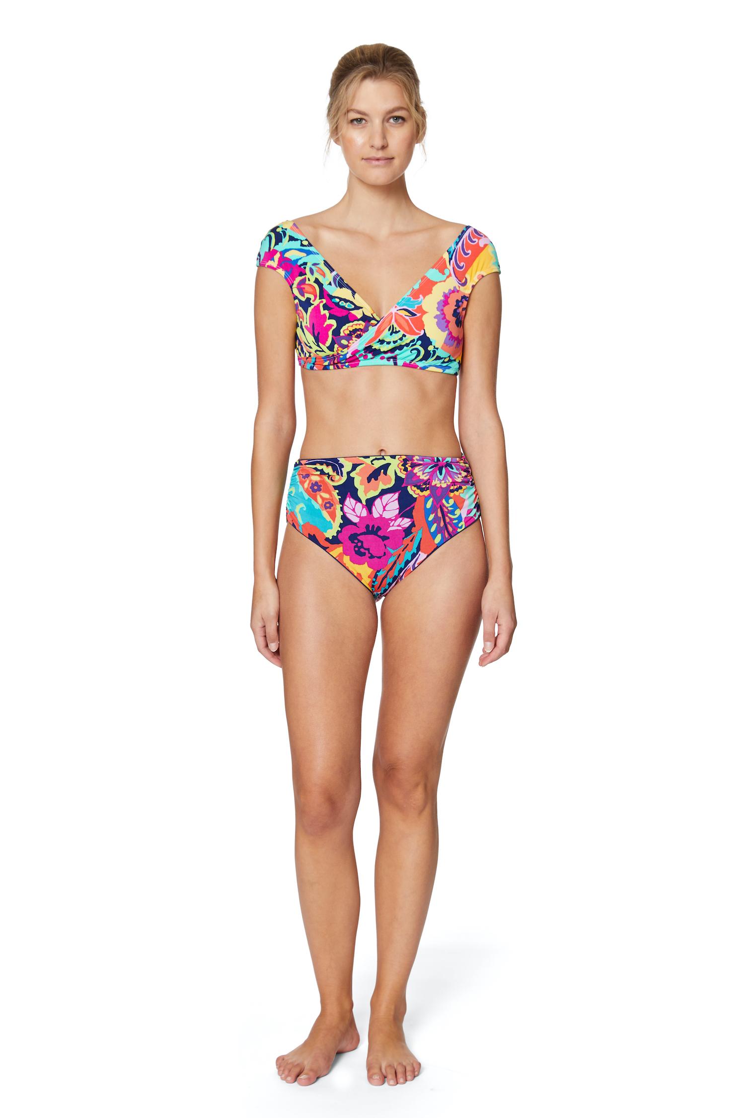 Tahari® Paris Floral Wrap Bra Swimsuit Top - Multi - Front