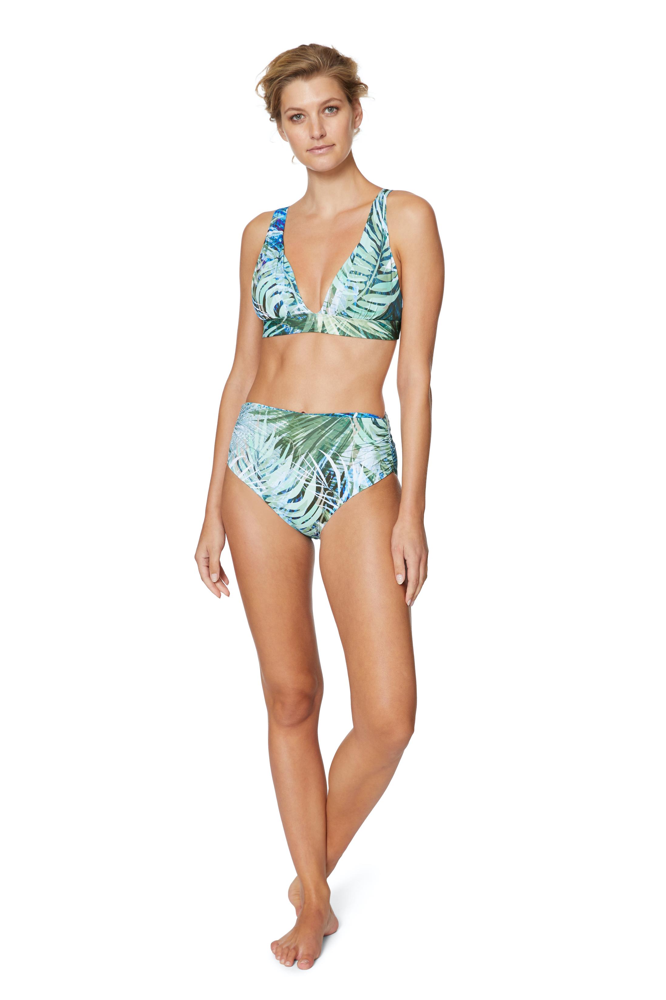 Tahari® Camo Palm Shirred High Waist Swimsuit Bottom -Green - Front