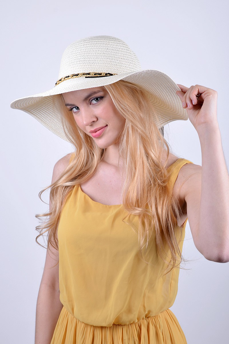 Floppy Hat W/ Classy Chain Detail - Ivory - Front