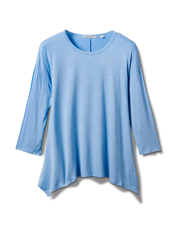 Texture Shark Bite Hem Knit Tunic - Misses -Blue - Front