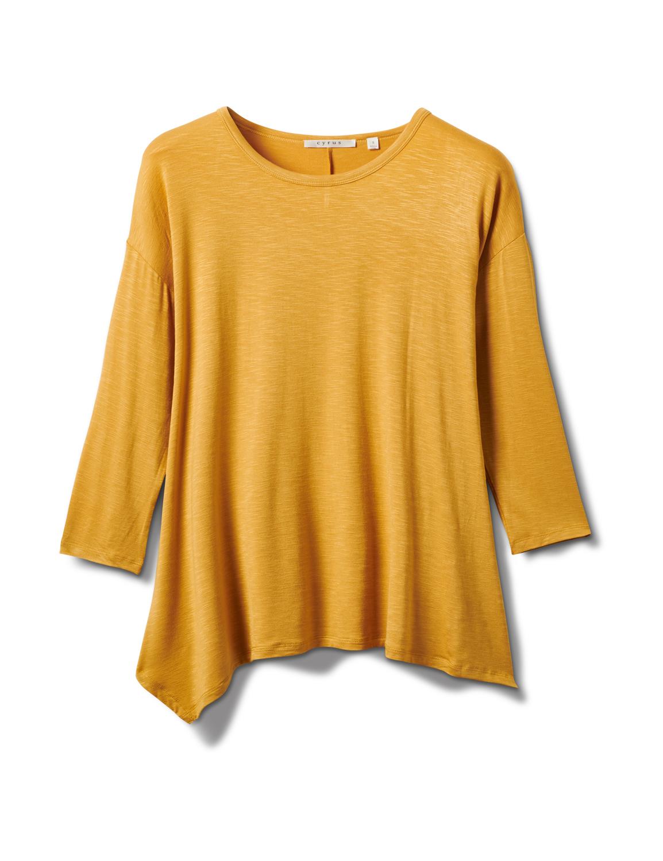 Texture Shark Bite Hem Knit Tunic - Misses -Mustard - Front