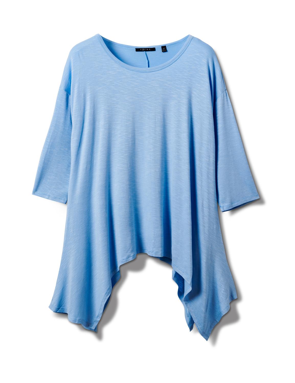 Texture Shark Bite Hem Knit Tunic - Plus -Blue - Front