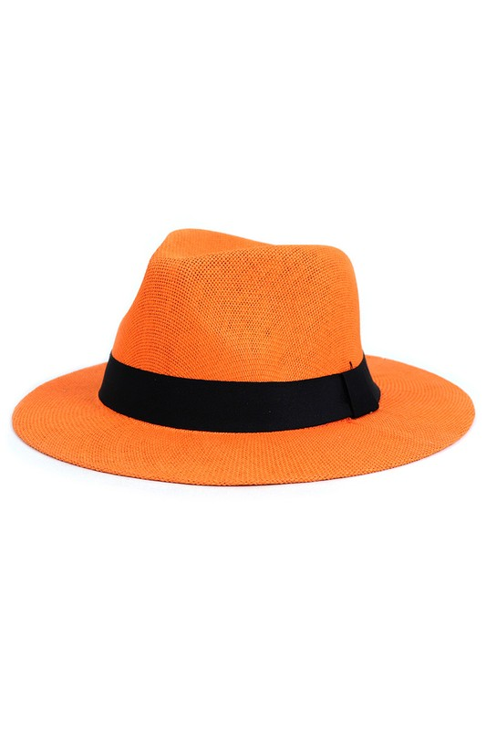 Colorful Wide Brim Panama Hat - Orange - Front