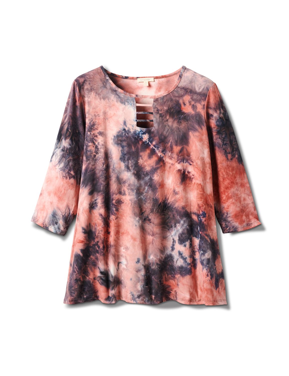 Lattice Neck Tie Dye Knit Top -Pink/Blue - Front
