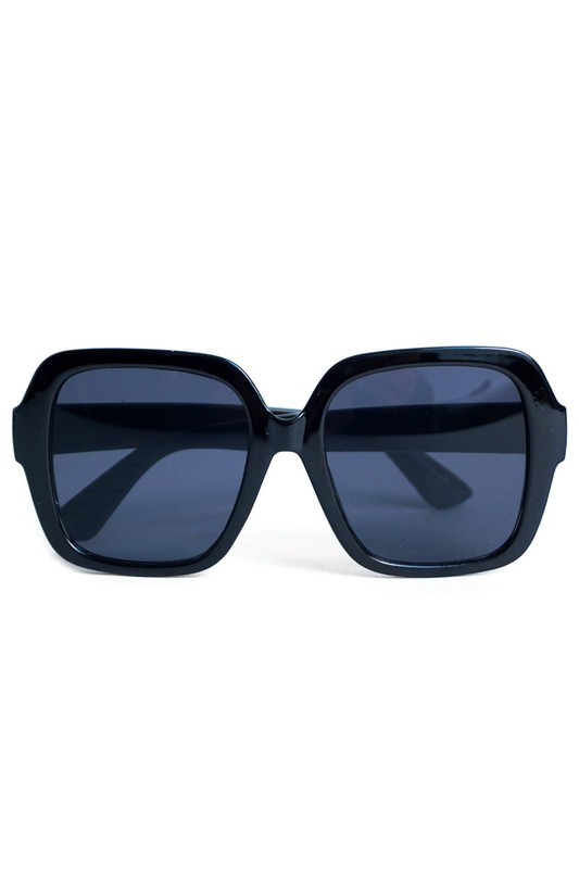 Black Oversized Sunglasses - Black - Front