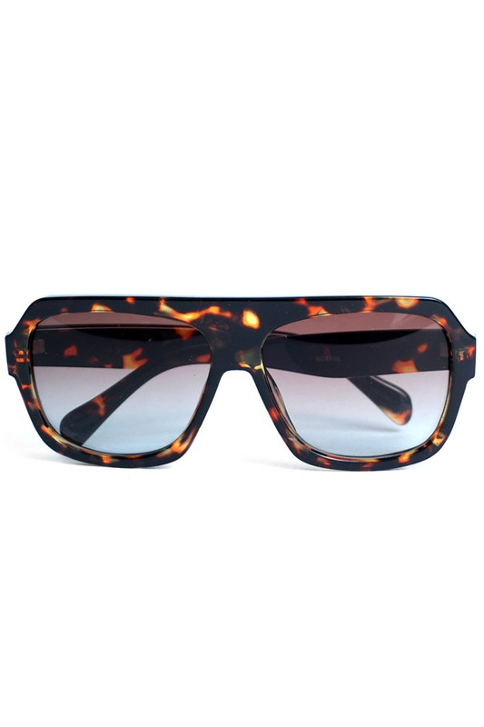 Brown Tortoise Rectangular Sunglasses - Brown - Front