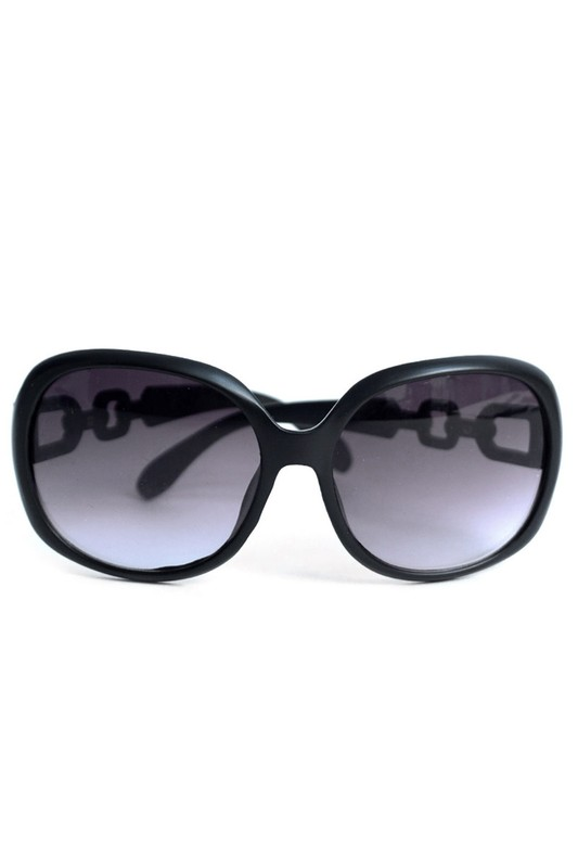 Round Black Sunglasses -Black - Front