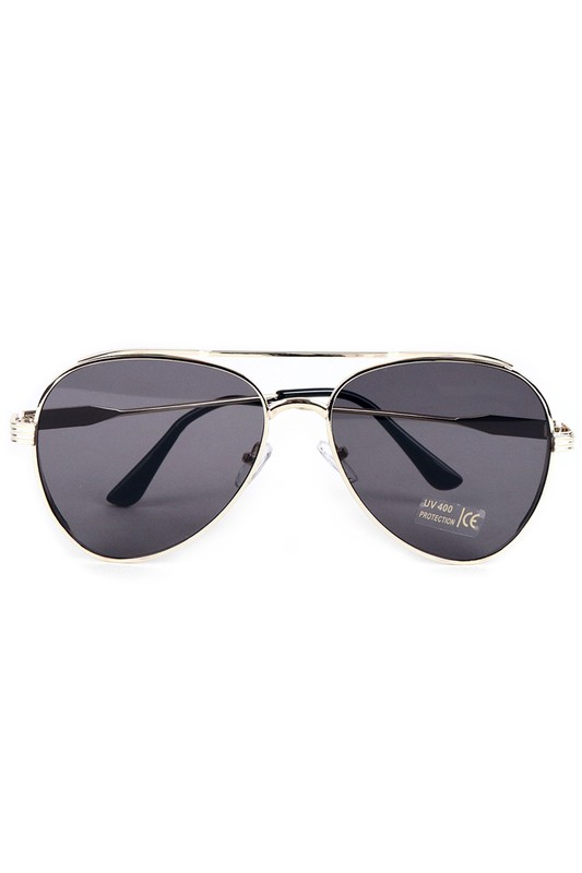 Gold Metal Frame Aviator Sunglasses - Gold - Front