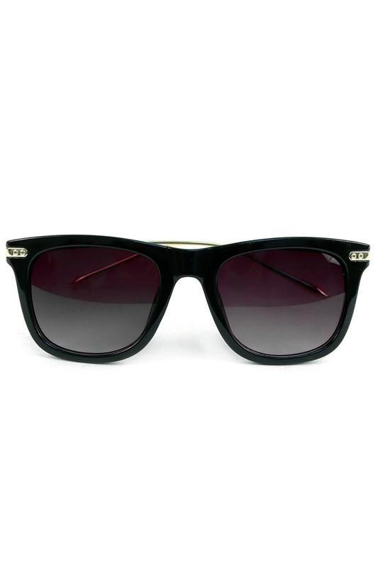 Black Rectangle Sunglasses -Black - Front