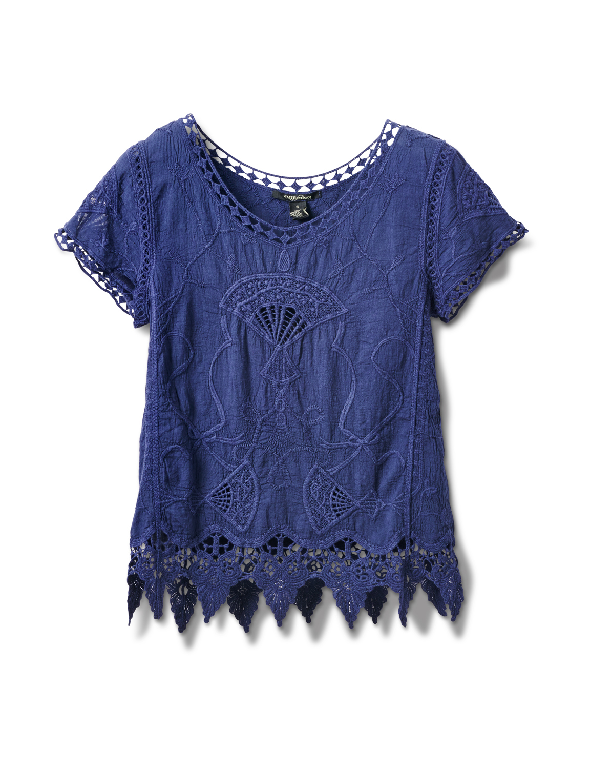 Embroidered Crochet Trim Blouse -Navy Blue - Front