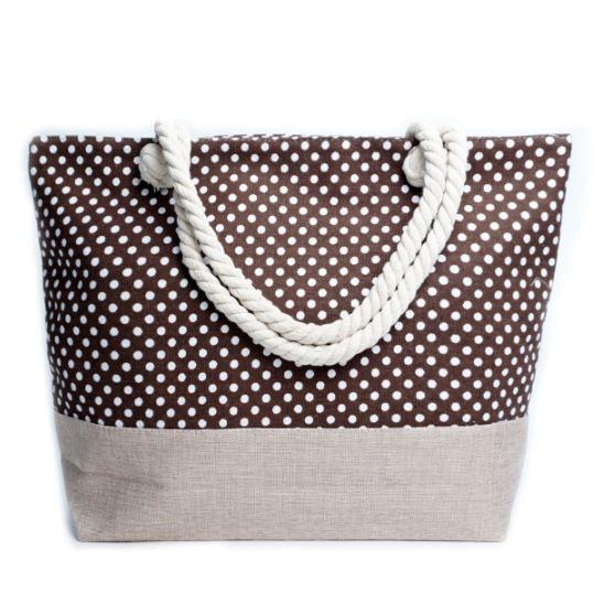 Polka Dots Tote Bag -Brown - Front