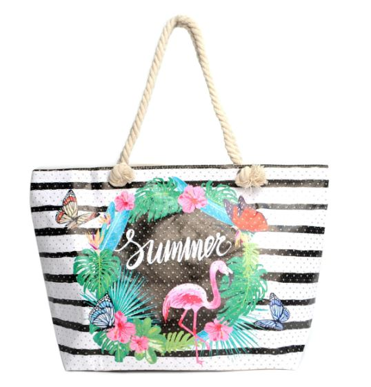 Striped Tropical Rhinestone Tote Bag -Light Beige - Front