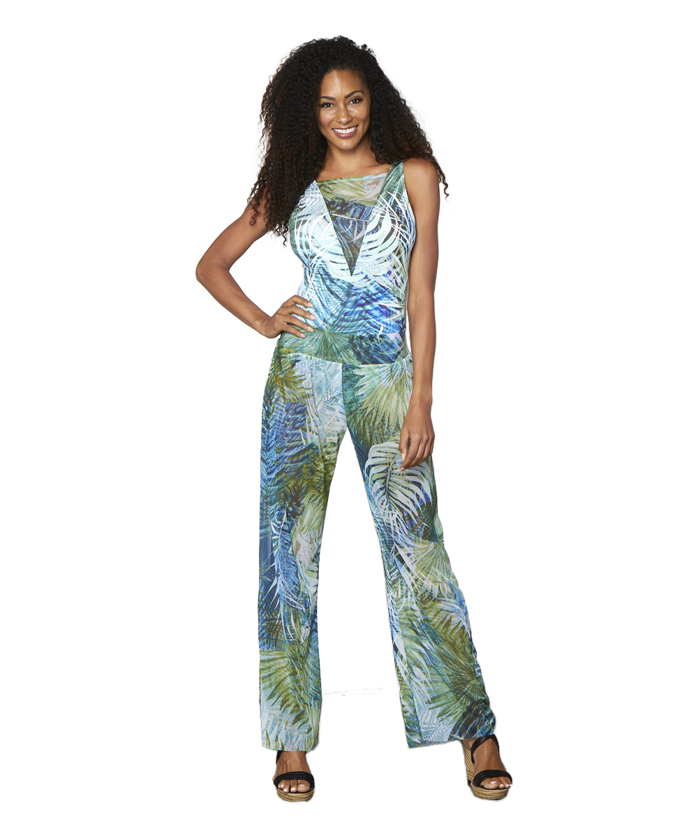 Tahari® Camo Palm Pant Swimsuit Cover-Up -Green - Front